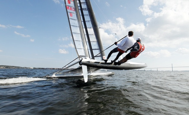 The International C Class Catamaran Championships (IC4) hosted at New York Yacht Club in Newport, RI from August 22-28, 2010. The IC^4 is the successor to the Little America's Cup as the championship event for the C class catamarans.   Racing begins w